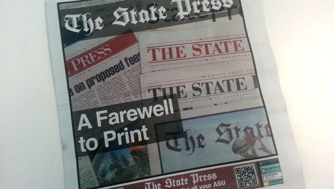 Arizona State University officially stopped the presses on the print section of the State Press on  July 30, 2014.