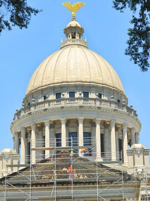 The state capitol building in Jackson. Gov. Phil Bryant will be giving a state of the state address Wednesday night.