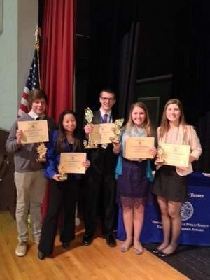Caption: Donovan Catholic Academic Team wins Ocean County Championship of the NJ Consumer Bowl from L to R: Ryan Barto, Hope Dormer, Michael Quigley, Kristen Bell, and Rachel Rosstedt.