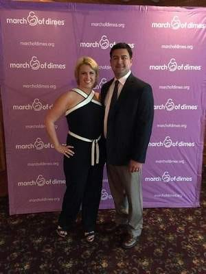 "Dr. and Mrs. Robert Thompson at the March of Dimes ""March for Babies"" awards dinner last night before receiving the top Jersey Shore family team award."