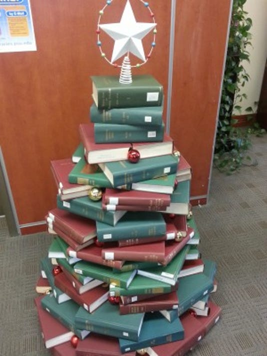 This photo, courtesy of Barb Eshbach, shows Penn State York's Christmas tree of books.