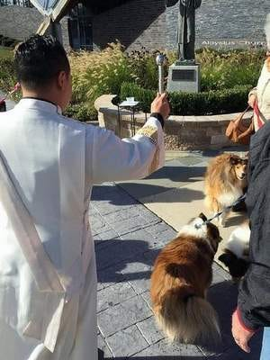 Photo of Deacon Al Gamalo blessing the animals
