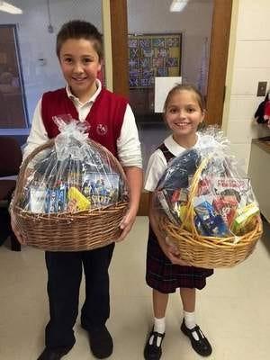 Photo is of basket winners, Paul and Julia