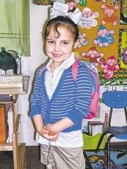 Kylie Walleser-Bush as a kindergarten pupil at J.I. Barron Elementary School in Pineville.
