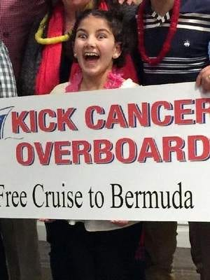 "Two-time cancer survivor Grace ""Cookie"" West (12, Freehold) learns she and her family will be cruising to Bermuda soon."