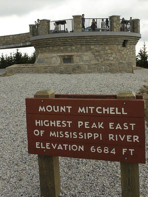 Mount Mitchell, the highest point east of the Mississippi River, is technically getting lower.