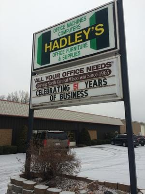 The retail store for Hadley Office Products closed in December. The owners retired and sold the company to Complete Office of Wisconsin.