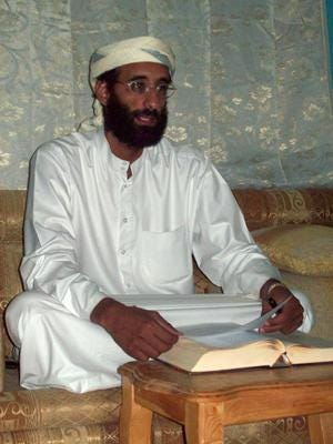 The name of Anwar al-Awlaki, above, was reportedly on CDs at Sebastian Gregerson's home.