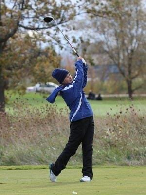 Salem senior Darby Scott, shown from earlier this season, was medalist Friday against Livonia Stevenson and Canton.