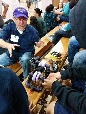 Stanley Wyman inspires his students to build robots as part of his science lessons.