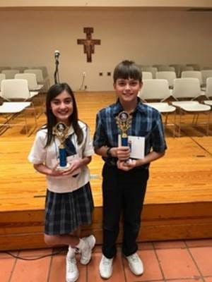 Fifth-graders Edmund Thomas (right) and his alternate, Caitlin Tatsch, will compete in the Caller-Times' regional spelling bee.