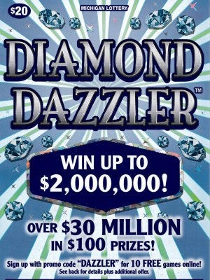 Diamond Dazzler lottery ticket