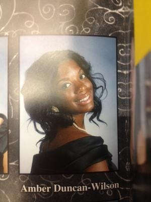 A poster of Amber Duncan-Wilson who was killed just days after her 2012 graduation from Linden High School.