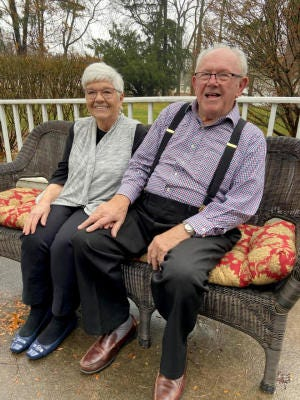 Fred and Dorothy Sulier, pictured on their back porch in Ottawa Lake, have been married 71 years.