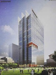 Rendering of the Nashville skyscraper that houses Bridgestone Americas' headquarters.