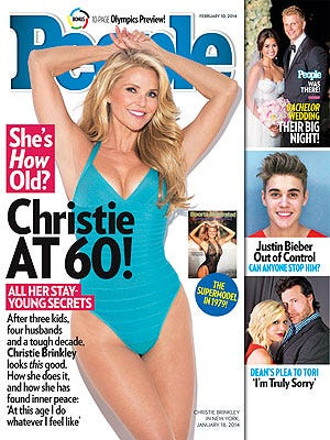 Christie Brinkley poses for 'People' magazine's new issue, out Friday.