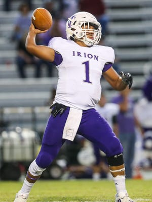 Irion County's Nathan Chacon throws the ball during the game against Eldorado on Friday, Oct. 6, 2017, in Eldorado.