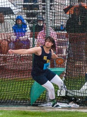 Greencastle's Campbell Parker throw the discus during the P.I.A.A. District III Championship on Saturday, May 21, 2016. Campbell took third place in the AAA boys discus.