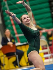 JP Steven's Shannon Gregory competes in the floor exercise in the NJSIAA Gymnastics state individual championship at Montgomery High School on Saturday Nov. 14, 2015. Photo by Jeff Granit