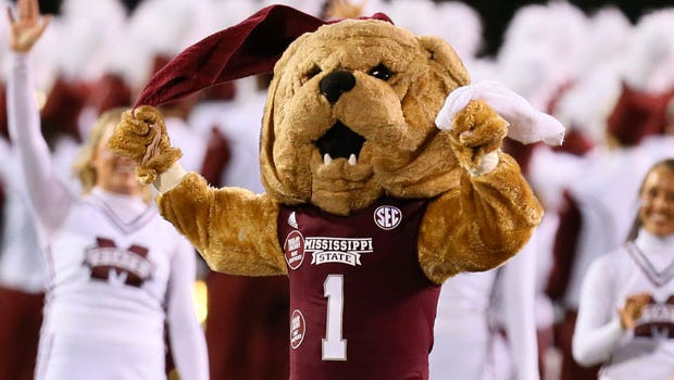 A former Mississippi State mascot is suing ESPN and the school for an incident that broke her leg.