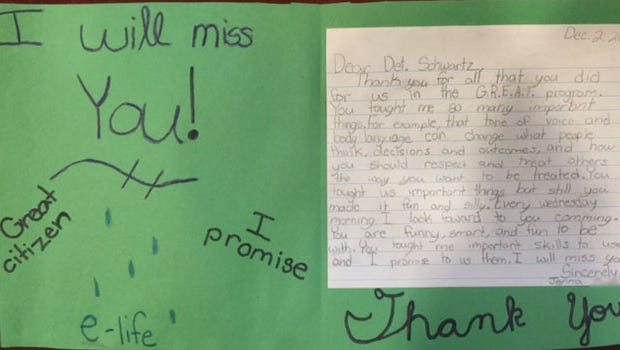 Students who completed the Ocean County G.R.E.A.T. program submitted letters of thanks.