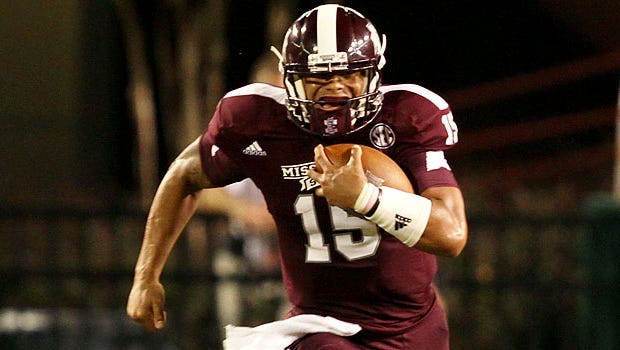Dak Prescott was in a boot after the game against Kentucky.