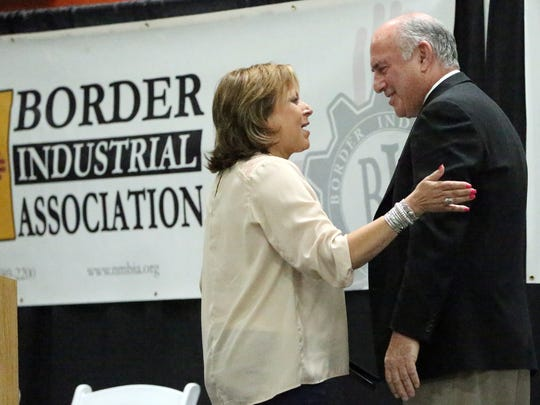 New Mexico Governor Susana Martinez introduces Richard Master, CEO of MCS Industries, Inc. during a ribbon-cutting ceremony for the company's new 215,000 square-foot distribution facility in Santa Teresa, N.M. Thursday.