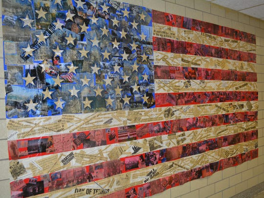 A flag created by Horseheads High School art students
