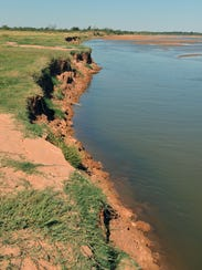 The Red River in northeastern Wilbarger County has