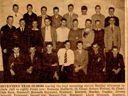 A newspaper clipping shows the men who enlisted in