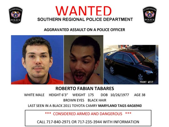 Roberto Fabian Tabares is wanted by police.