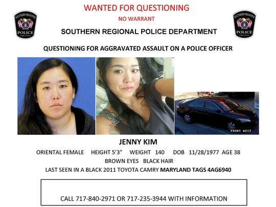 Jenny Kim is wanted for questioning by police.