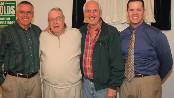 From left, Vestal Clerk Emil Bielecki, Joseph Laughney, Paul VanSavage and Dan J. Reynolds.