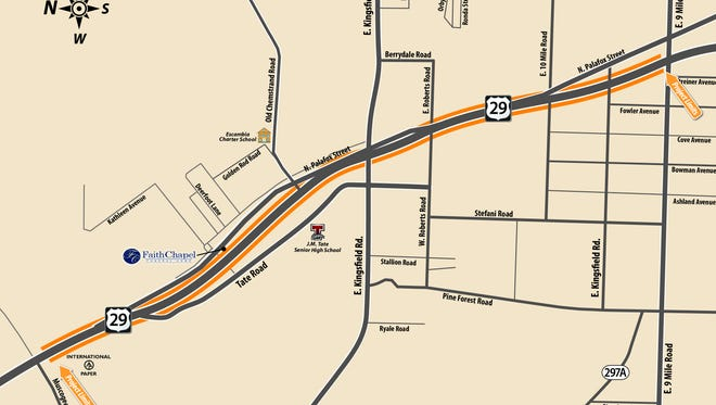 Construction activities will begin next week on a $5.2 million project to resurface State Road 95 (U.S. 29) from north of U.S. 90 (Nine Mile Road) to south of County Road 184 (Muscogee Road) in Escambia County.