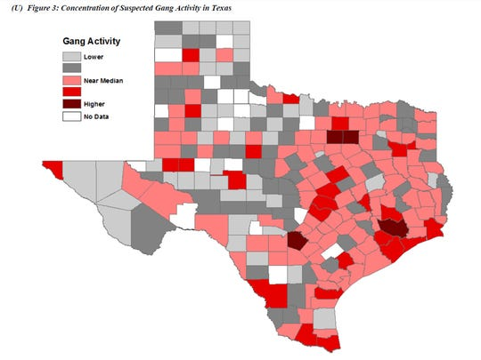 Wichita County ranks as above the median for concentration of suspected gang activity in Texas, according to a report by the Texas Department of Public Safety.