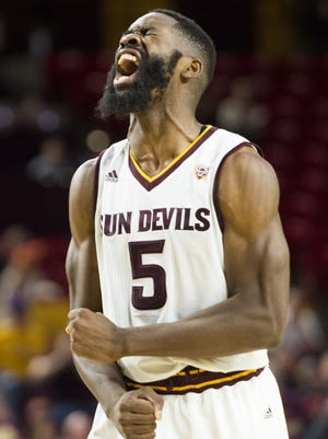 ASU senior forward Obinna Oleka (5) celebrate after making a layup and drawing a foul in the second half against Cal Poly at Wells Fargo Arena in Tempe on Sunday, Nov. 13, 2016.