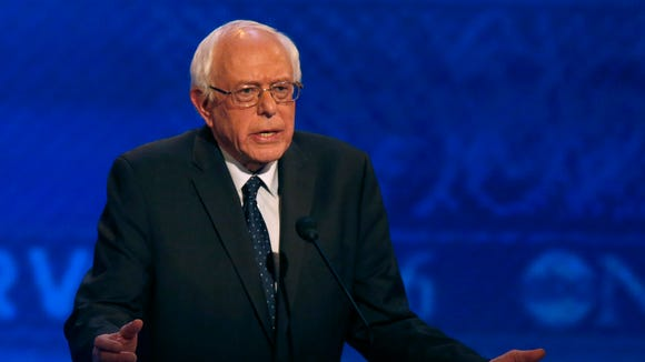 Bernie Sanders speaks during a Democratic presidential