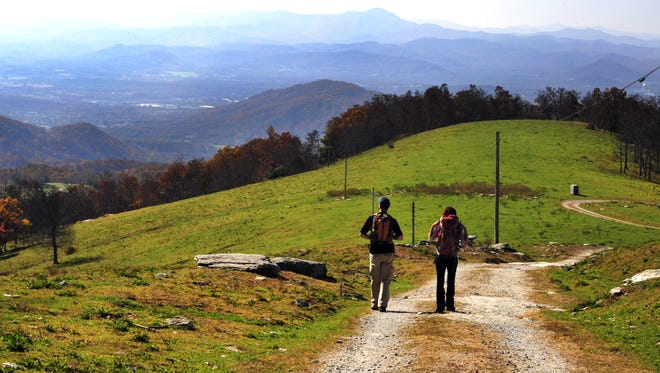 The 4,232-foot summit of Bearwallow Mountain is a grassy bald with almost 360 degree views of the surrounding mountains. --Bill Sanders