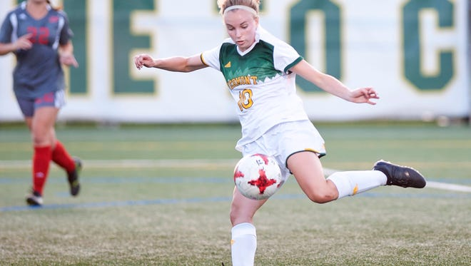 University of Vermont forward Ella Bankert lines up a shot against Sacred Heart during Friday night's women's soccer game at Virtue Field.