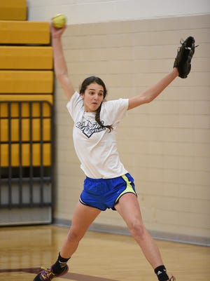 Returning senior Nicole Belans is one of four players Mercy coach Alec Lesko is counting on to take over mound duties this season.