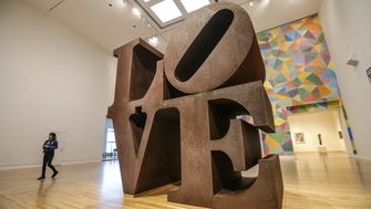 The original LOVE sculpture, 1970, by Robert Indiana has returned to public display inside the Indianapolis Museum of Art, March 8, 2017. The sculpture, created from Cor-ten steel, was undergoing conservation treatment after years of display outside. Now the sculpture has returned to it's original home inside the Pullman Family Great Hall.