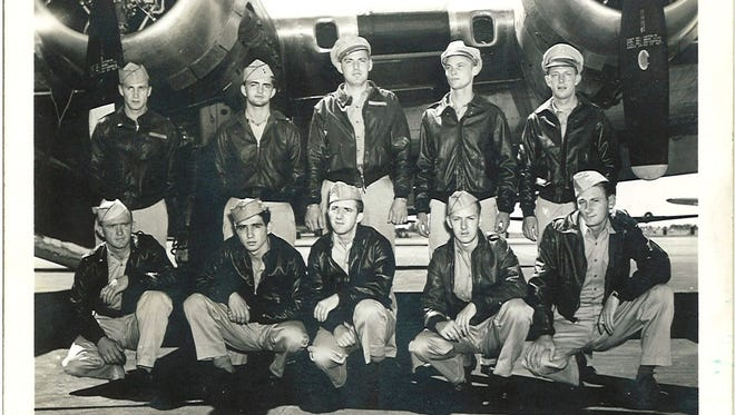 Only five of the 10 men on Loren Rice's B-17 survived its crash. Some likely died of machine gun fire while others failed to escape the crashing plane. Rice is in the back row, farthest right. Only five of the 10 men on Loren Rice's B2 survived its crash. Some likely died of machine gun fire while others failed to escape the crashing plane. Rice is in the back row, farthest right.