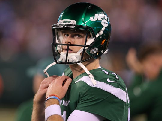 Oct 21, 2019; East Rutherford, NJ, USA; New York Jets quarterback Sam Darnold (14) reacts on the sideline during the fourth quarter against the New England Patriots at MetLife Stadium. Mandatory Credit: Brad Penner-USA TODAY Sports