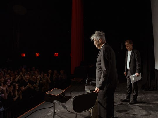David Lynch, left, and Paul Holdengraber at the Festival
