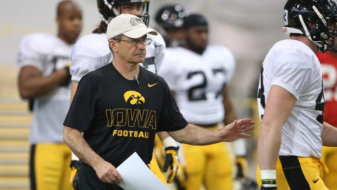 Iowa linebackers coach Jim Reid oversaw a starting unit of Ben Niemann, Josey Jewell and Cole Fisher that showed vast improvement over the 2014 season.