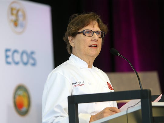 Chef Mary Cleaver speaks during the Earth Friendly Products company ECOS its 50th year anniversary celebration.  April 13, 2017, Parsippany, NJ