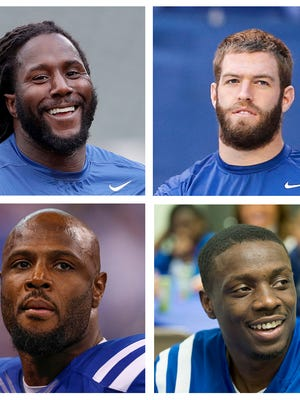 Colts free agents, clockwise from upper left: Eric Walden, Jack Doyle, Darius Butler, Mike Adams