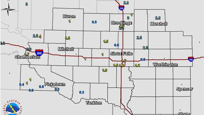 Snow totals from the National Weather Service as of 12:45 p.m. Tuesday.