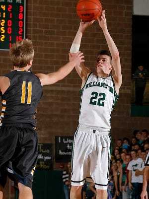 Williamston's Riley Lewis (22), shown in a game earlier this week, was one of the top performers in the Lansing area on Friday.