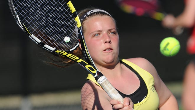Abilene High's Rachel Tebow eyes the ball during her girls doubles match with teammate Lauren Schaeffer. A team from Lubbock Monterey won the third-round match 6-1, 6-3 at the Cougar Classic on Friday, March 2, 2018 at Rose Park Tennis Center.